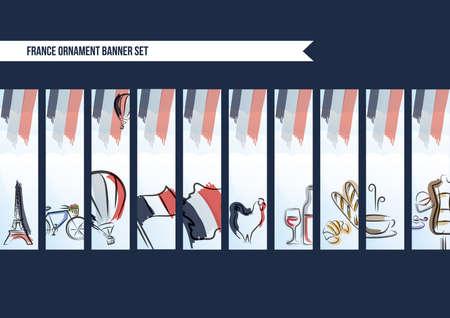 Sammlung von Frankreich Ornament Banner Standard-Bild - 51364327