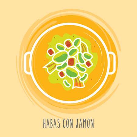 spanish food: habas con jamon