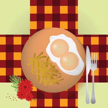 con: patatas fritas con huevos fritos