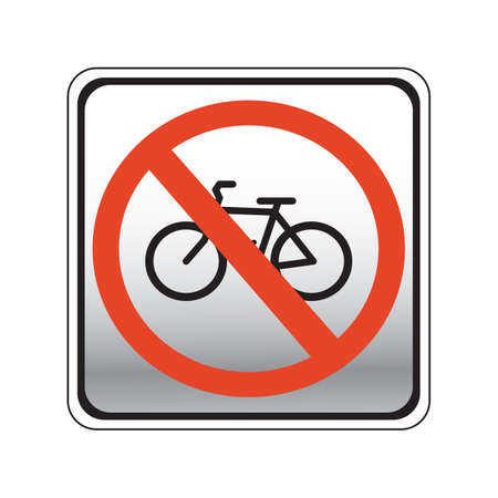 roadsigns: bicycles prohibition road sign Illustration