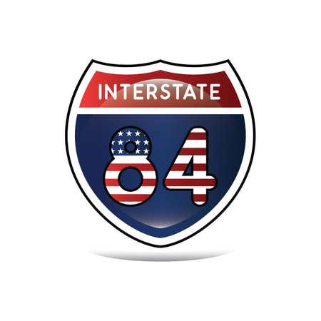 interstate: interstate 84 highway sign Illustration