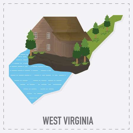 virginia: west virginia map sticker