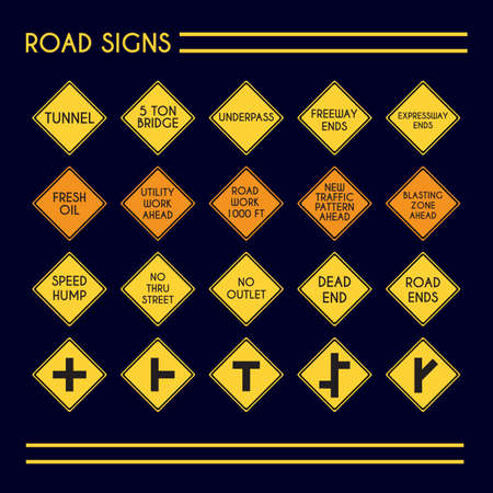 hump: collection of road signs Illustration