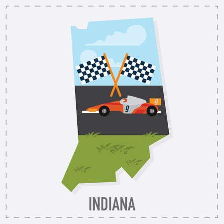 indiana kaart sticker Stock Illustratie