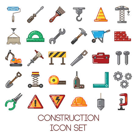 wheel barrow: construction icon set