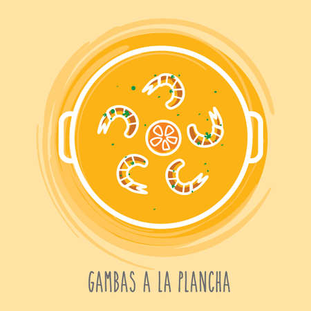 spanish food: gambas a la plancha Illustration