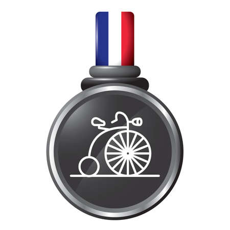 penny-farthing in a medal