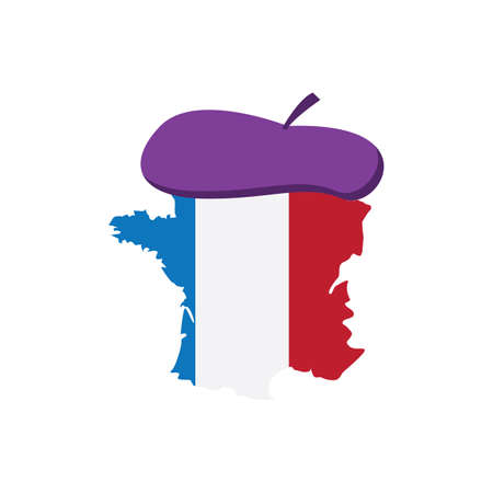 france map with beret hat Illustration