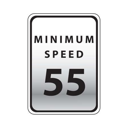minimum: minimum speed 55 road sign Illustration