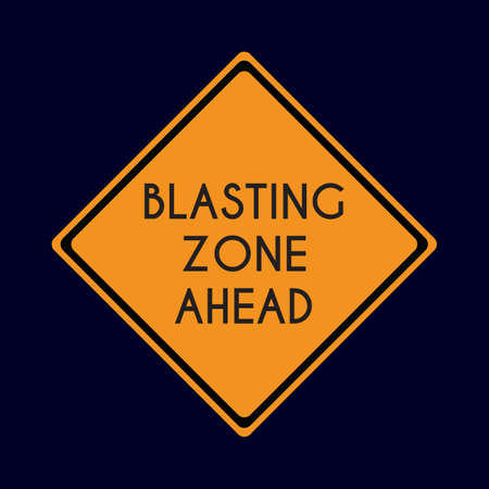 road works ahead: blasting zone ahead road sign
