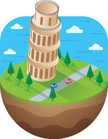 leaning tower: leaning tower of pisa Illustration