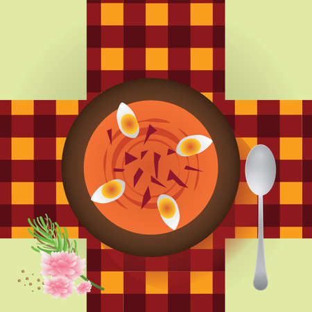 boiled eggs: salmorejo andalusian