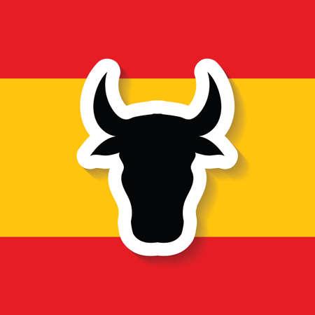 spain flag and bull