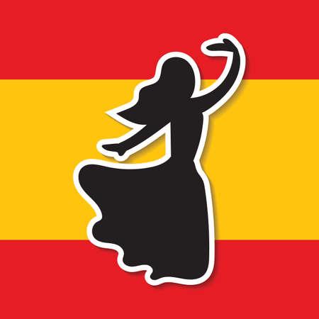 bailarina de flamenco: bandera de Espa�a y bailarina de flamenco