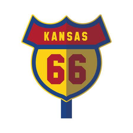roadsigns: kansas 66 road sign Illustration