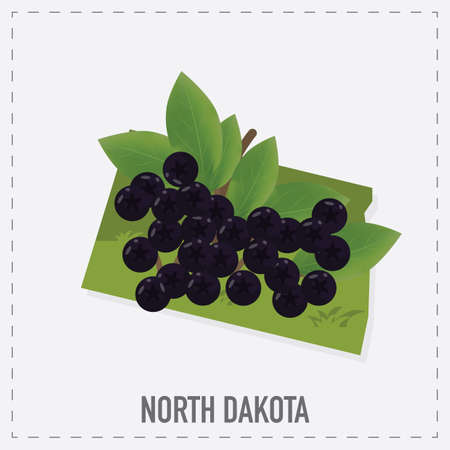 chokeberry: north dakota map sticker Illustration