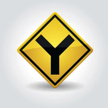 roadsigns: y fork junction sign