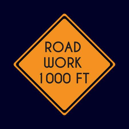 road work: road work 1000 feet Illustration