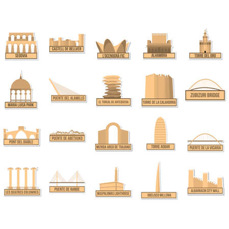spanje monument en landmark set Stock Illustratie