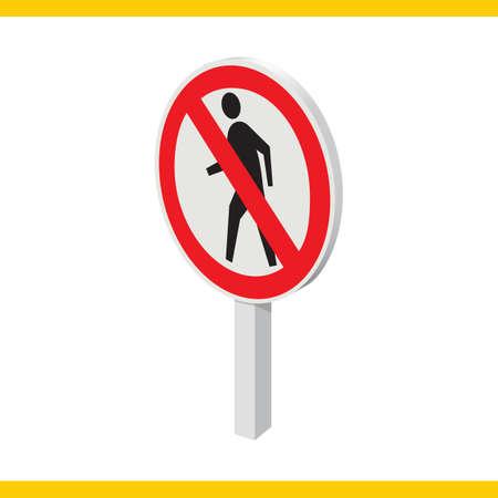 signal pole: no entry for pedestrians sign