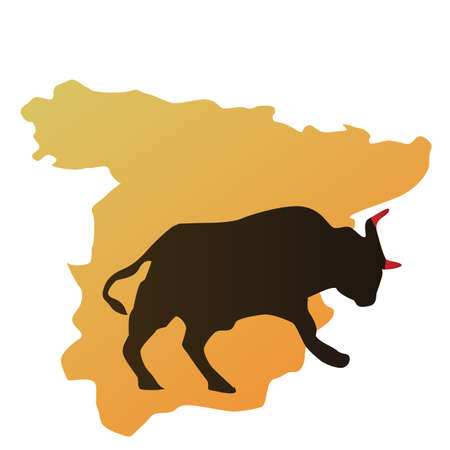 bullfight: spain map and bull