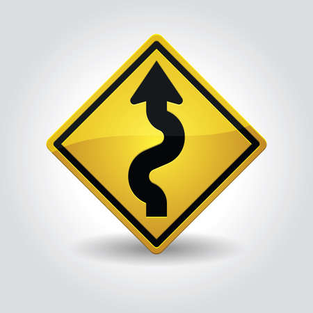 winding: left winding road sign