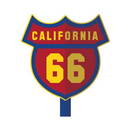 66: california 66 road sign Illustration