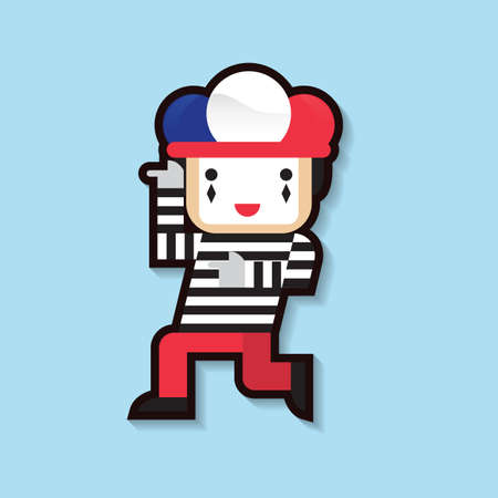 french flag: clown with french flag cap Illustration
