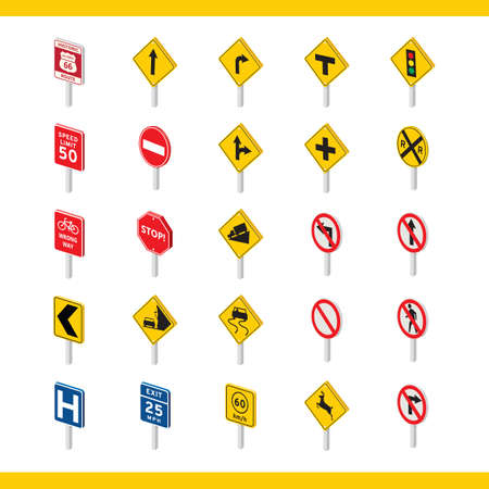 signal pole: collection of traffic signs
