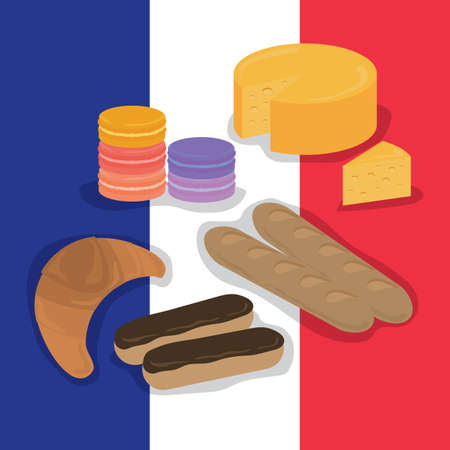 buttery: set of france food items Illustration