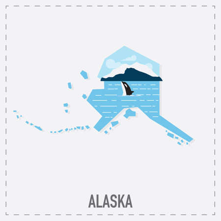 alaska map: alaska map sticker
