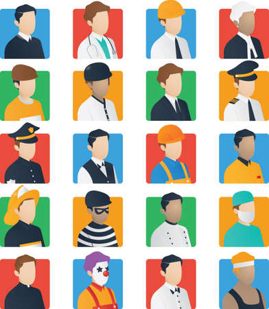 office theft: set of job icons