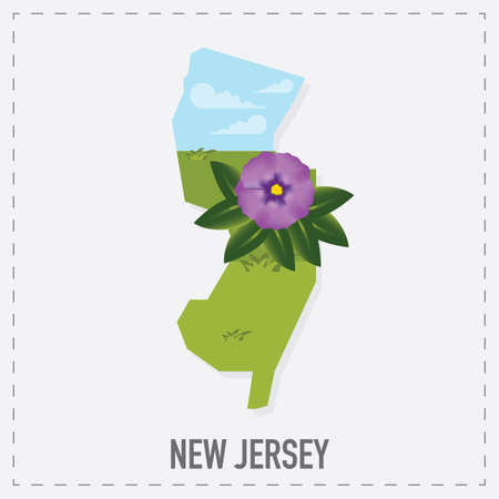 jersey: new jersey map sticker Illustration