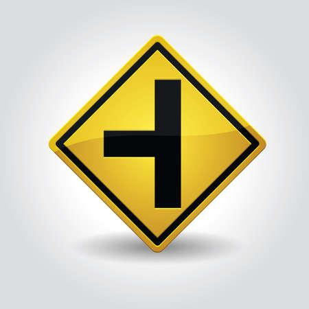 side of the road: side road left sign