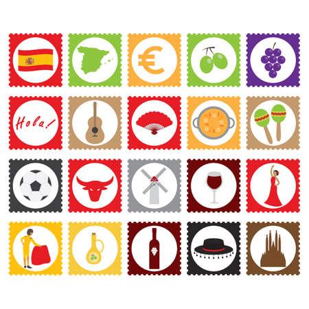 set of spain icons Vetores