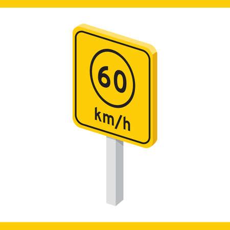 60: speed limit 60 Illustration