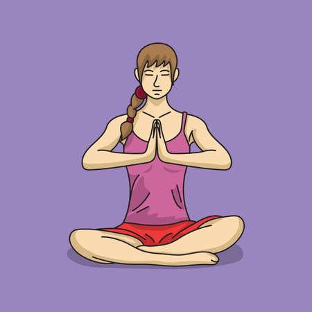 human being: woman doing yoga Illustration