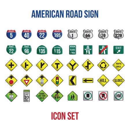 미국 도로 표지판의 집합 일러스트