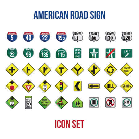 set of american road signs