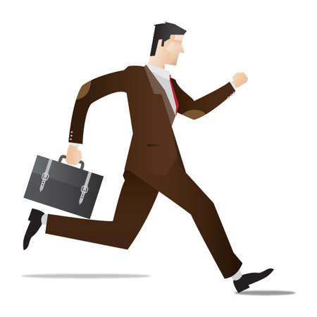 full figure: businessman running