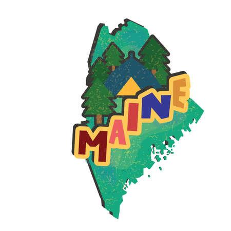 メイン州地図  イラスト・ベクター素材