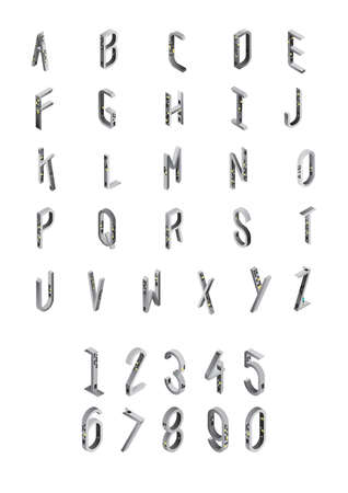 s c u b a: alphabet and numbers set