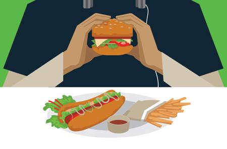 eating burger: man eating burger Illustration