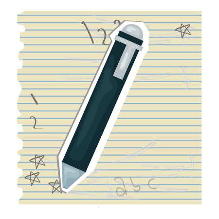 ruled paper: pen Illustration