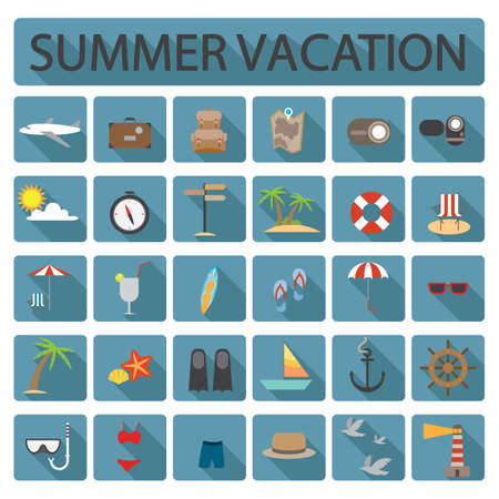 surfboard fin: collection of summer vacation icons