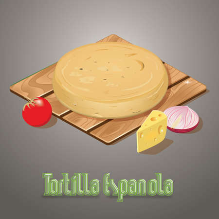 onion slice: tortilla espanola Illustration
