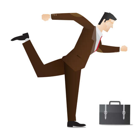 enthusiasm: businessman walking in enthusiasm Illustration