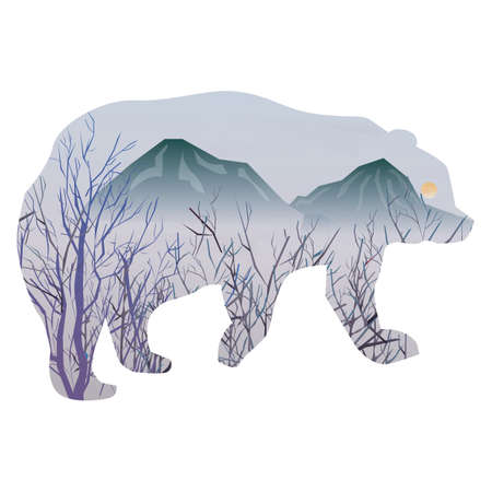 double exposure: double exposure of bear and nature Illustration