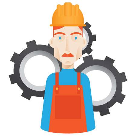 arquitecto caricatura: trabajador con engranajes