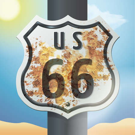 66: us 66 route sign Illustration